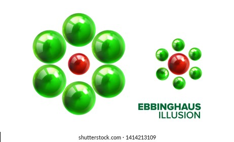 Optical Ebbinghaus Illusion With Balls Vector. Visual Illusion With Smaller Or Bigger Glossy Green And Red Shiny Spheres. Different Size Effect Of Titchener Circles Realistic 3d Illustration