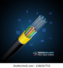 Optical Fiber cable for communication technology and connecting concept.