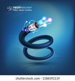 Optical Fiber cable for communication technology and connecting concept. Vector illustration for network conceptual.