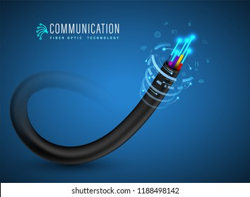 Optical Fiber cable concept for communication technology and connecting element. Vector illustration for network conceptual.