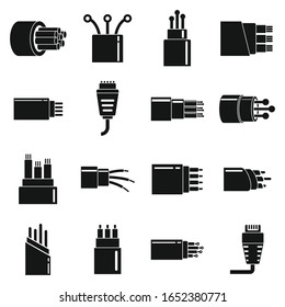 Optical fiber cable icons set. Simple set of optical fiber cable vector icons for web design on white background