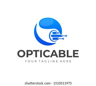Optical fiber cable logo design. Internet connection vector design. Telecommunication and networking logotype