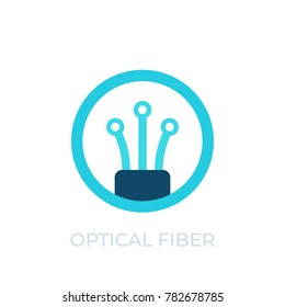 optical fiber icon, vector logo on white