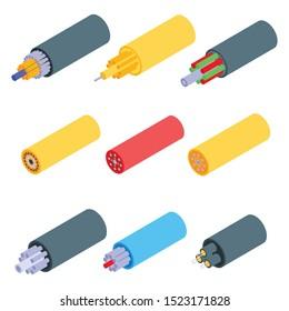 Optical fiber icons set. Isometric set of optical fiber vector icons for web design isolated on white background