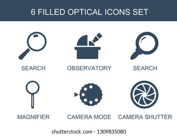 optical icons. Trendy 6 optical icons. Contain icons such as search, observatory, magnifier, camera mode, camera shutter. optical icon for web and mobile.