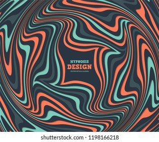 Optical illusion, abstract background. Hypnosis twisted spiral design concept for hypnosis, infinity, unconscious, psychic, chaos, extrasensory. Vector colorful striped swirl. Hypnotic wavy pattern