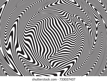 Optical illusion, abstract background. Hypnosis twisted spiral design concept for hypnosis, infinity, unconscious, psychic, chaos, extrasensory. Vector black-white striped swirl. Hypnotic wavy pattern