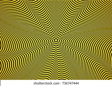 Optical illusion, abstract background. Hypnosis twisted spiral design concept for hypnosis, infinity, unconscious, chaos, extrasensory. Vector black-yellow striped swirl. Hypnotic wavy pattern
