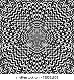 Optical illusion abstract design. Op art pattern. Vector illustration.