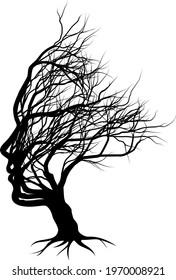 Optical illusion bare tree face child silhouette concept