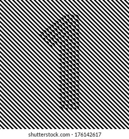 Optical illusion black and white number 1