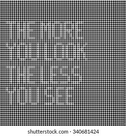 "optical illusion disappearing text made of black dots on white background. modern algorithm artwork for posters or any graphic design use. ""the more you look the less you see"" text."