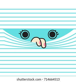 Optical illusion Drawing Of Eyes And Fingers On Lined Paper Concept Card Character illustration