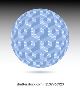 Optical illusion executed in the form of ball with unusual blue dotted cubes. Abstract background. 3d effect. Style op art.