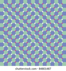 Optical illusion forces to see moving squares