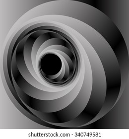 Optical illusion in the form of a bright metal reflecting volumetric screw and spiral.