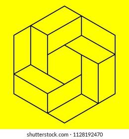 Optical illusion, geometric figure, hexagon