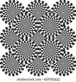 Optical illusion - illustrated circles appear to be moving