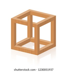 Optical illusion. Impossible or irrational cube, invented by M.C. Escher. Isolated wooden textured vector illustration on white background.