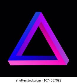 Optical illusion: impossible Penrose triangle, trendy colorfu tribar logo on black background, vector illustration