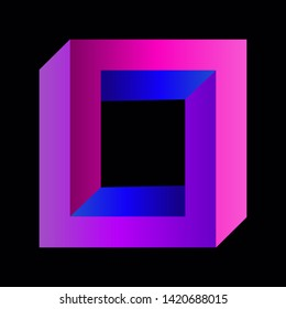 Optical illusion: impossible square,  trendy colorful magic logo on black background,  vector illustration