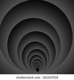 Optical illusion. Languidly swirling dark gray monochrome spiral that leads down.