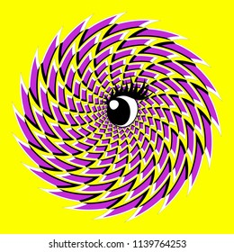 Optical illusion of the movement executed in the form of big rotating violet rhombuses and amusing eye. Abstract background. Creative modern design. Style op art.