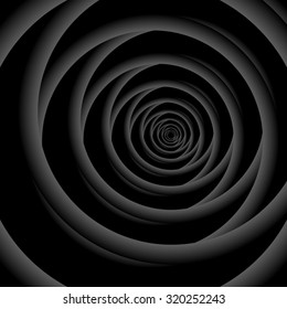 Optical illusion. Overlapping and decreasing fractal monochrome rings on a black background. All isolated.