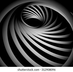 Optical illusion. Screw in black circle-swirl-black hole futuristic striped metal spiral.