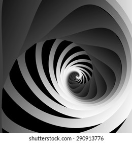 Optical illusion. Screw and receding into the distance of the triangular rounded spiral ribbons and black-and-white striped section.