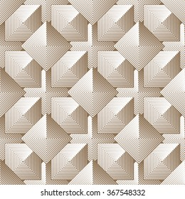 Optical illusion seamless pattern of linear squares. Vector geometric background in monochrome. Simple to edit, without gradient.