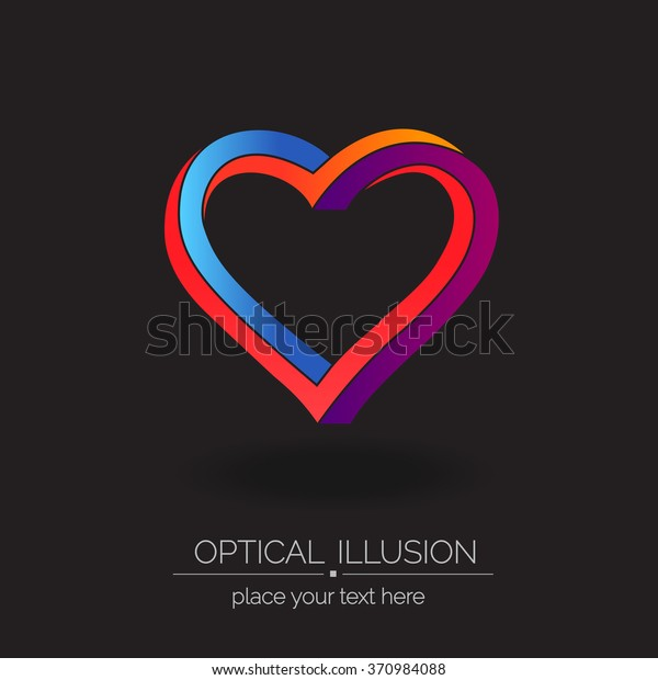 Optical Illusion Series Heart Logo Abstract Stock Vector (Royalty