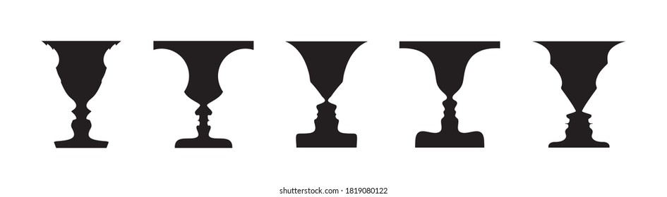 Optical illusion set with vase and face profile silhouettes. Gestalt psychology test identifying goblet figure or human profile from background