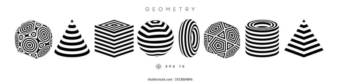 Optical illusion shapes vector set. Pyramid striped. Cylinder and Cube optical abstract black and white lines design. Circle geometric round shapes. Cone vector symbol op art. Stripe modern 3d