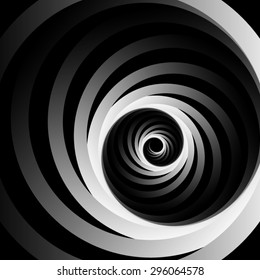 Optical illusion. Spun off of spiral curl metal monochrome ribbons, leaving the darkness.
