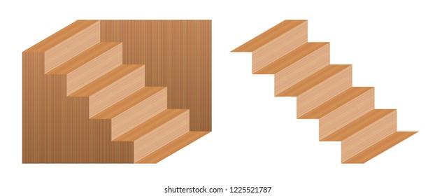 Optical illusion staircase called Schroeder stairs. Wooden object which may perceived as downwards leading staircase, from left to right, or turned upside down. Perspective reversal.