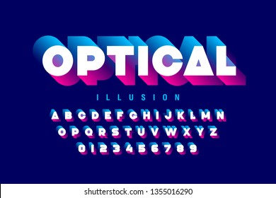 Optical illusion style font design, alphabet letters and numbers, vector illustration