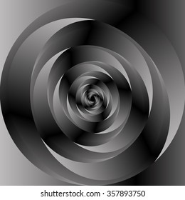 Optical illusion. A swirling monochrome spiral many metallic monochrome tones and forms a black .