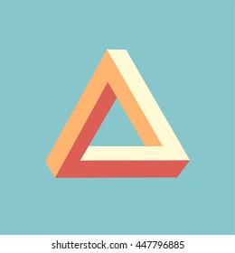 optical illusion triangle icon penrose geometric dimension color design logo illustration