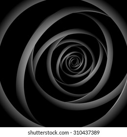 Optical illusion.  Twisted monochrome black-and-white metal strip, forming a fractal, disappearing into the distance.