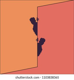 Optical illusion, two men peek out from behind the wall. Bright vector illustration.