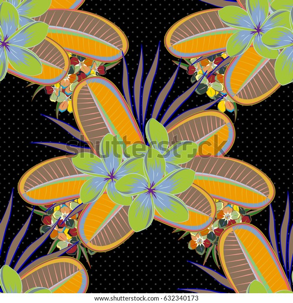 Optical illusion. Vector illustration good for the interior design, printing, web and textile design. Seamless texture of floral ornament in green and yellow colors.