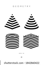 Optical illusion vector pyramid. Cylinder stripes background. Cube Logo optical abstract black and white lines design. Circle geometric round shape. Cone vector symbol op stripe modern 3d geometry.