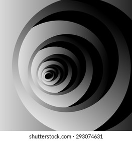 Optical illusion of volume monochrome fractal cocoon where new petals out of the previous.