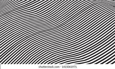Optical illusion wave. Abstract 3d black and white illusions. Horizontal lines stripes pattern or background with wavy distortion effect. Vector illustration.