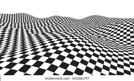 Optical illusion wave. Chess waves board. Abstract 3d black and white illusions. Horizontal lines stripes pattern or background with wavy distortion effect. Vector illustration.