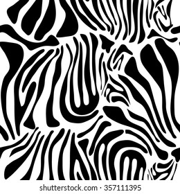 Optical illusion zebra seamless vector pattern. Safari textile collection. Black on white. Backgrounds & textures shop.