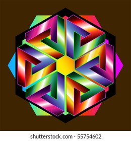 optical illusions: six Penrose triangles form a hexagon