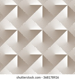 Optical seamless pattern of folded linear squares. Vector geometric background in monochrome. Metallic texture. Simple to edit, without gradient.