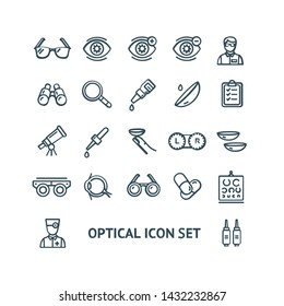 Optical Signs Black Thin Line Icon Set Include of Magnifier, Laser and Oculist. Vector illustration of Icons